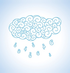 Abstract blue curl cloud with rain vector image