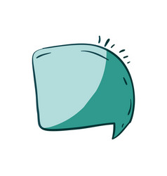 Aquamarine hand drawn of rounded square speech vector