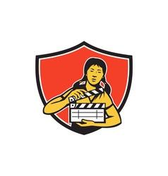 Asian woman movie clapper shield retro vector