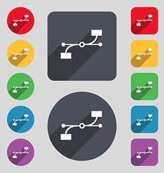 Bezier curve icon sign a set of 12 colored buttons vector