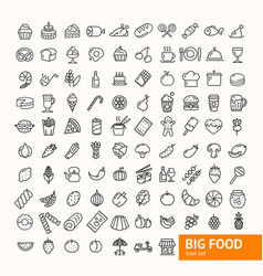 Big food black thin line icon set vector
