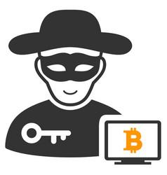 Bitcoin hacker icon vector