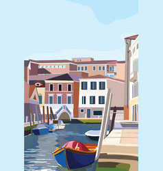 boats on the shore in venice scenic old streets vector image vector image