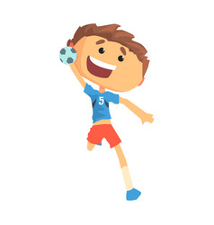 Boy handball player character cartoon vector