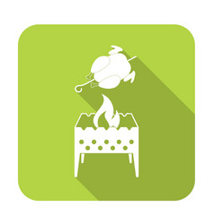 brazier and chicken icon vector image