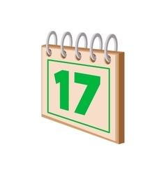 Calendar with st patricks day date cartoon icon vector
