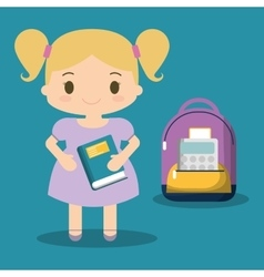 Cartoon school girl purple bag book blue vector