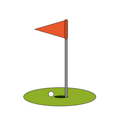 Color image cartoon golf flag with hole and ball vector