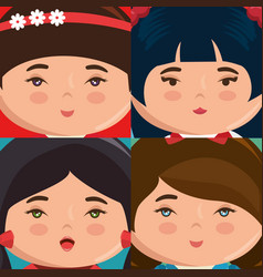Cute japanese girls group kawaii style vector