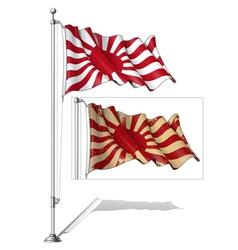 Flag pole japans emperial navy flag vector