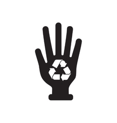 Flat icon in black and white recycling sign hand vector