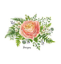 Flower bouquet watercolor element peach pink vector