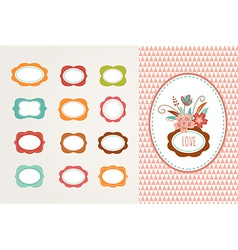 Flowers with frames - collection vector image vector image