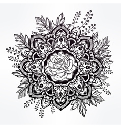 Hand drawn ornate rose flower with leaf crown vector