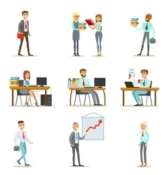 Happy Office Workers And Managers Working In The vector image vector image