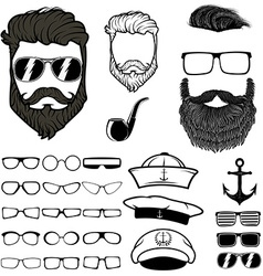 Hipster hair and beards set of design elements vector image vector image