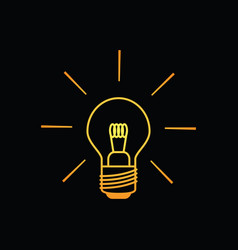Light bulb icon in warm colors on black background vector