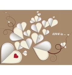 Love letter hearts on vintage background vector