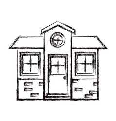 Monochrome blurred silhouette of small house vector