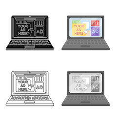 Online advertising icon in cartoon style isolated vector