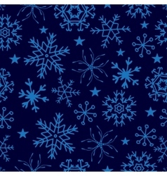 Seamless pattern from snowflakes on deep blue vector image vector image