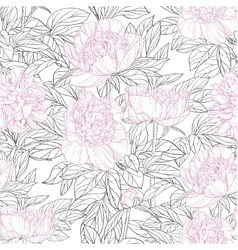 Seamless pattern of pink flowers peonies graphics vector image vector image