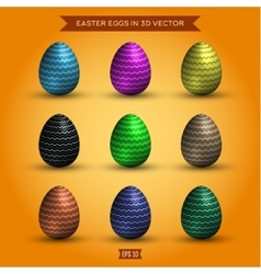 Set of easter eggs colored high-quality vector image vector image