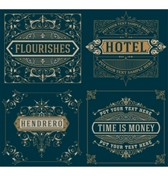 Set of Vintage cards template vector image vector image