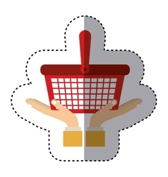 Sticker of hands holding a car shopping basket vector