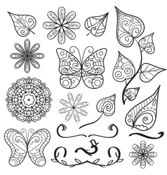 Summer hand drawn elements set vector image vector image