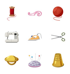tools for sewing dresses icons set cartoon style vector image vector image