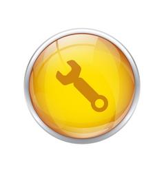 Yellow repair button vector