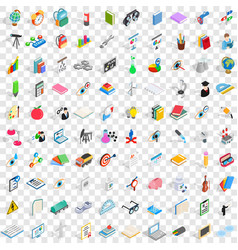 100 science icons set isometric 3d style vector