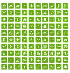100 toys for kids icons set grunge green vector