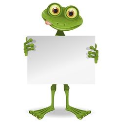 Frog with a white paper vector
