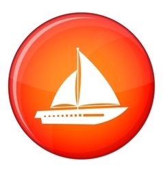 Sailing yacht icon flat style vector