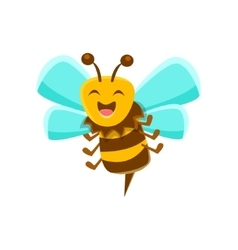 Laughing bee mid air with sting natural honey vector