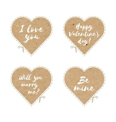 Craft paper hearts cut outs vector