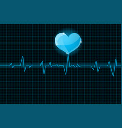 Electrocardiogram sign blue waves vector