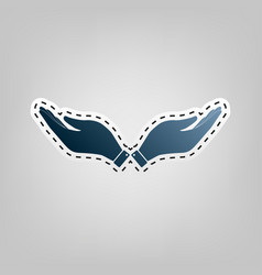 Hand sign   blue icon with vector