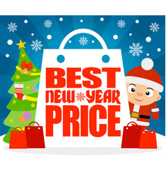 Best new year price card with boy in costume vector