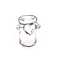 raspberry jam jar glass isolated on white vector image