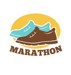 Marathon competition promotional emblem isolated vector