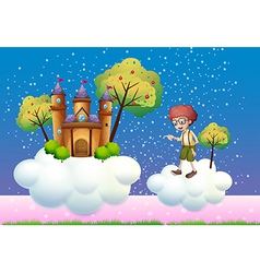 Clouds with a boy and a castle vector