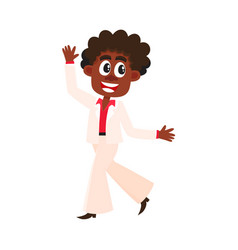 Black african american man in retro white suit vector