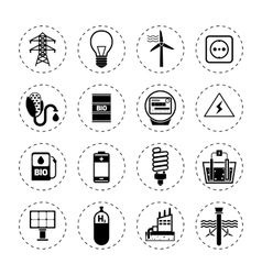 Alternative energy icons black vector