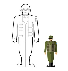 Soldiers coloring book military clothing helmet vector