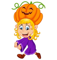 Little girl with halloween costume vector