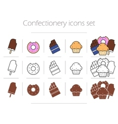 Confectionery icons set vector