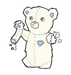 Comic cartoon teddy polar bear with torn arm vector